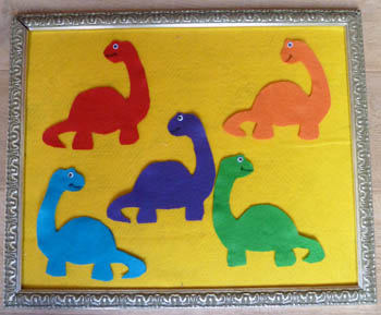 Five Dinosaurs Felt Story and Movement Activity and Rhyme