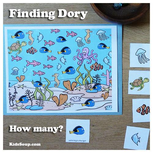 Under the Sea with Dora and Nemo preschool math activities