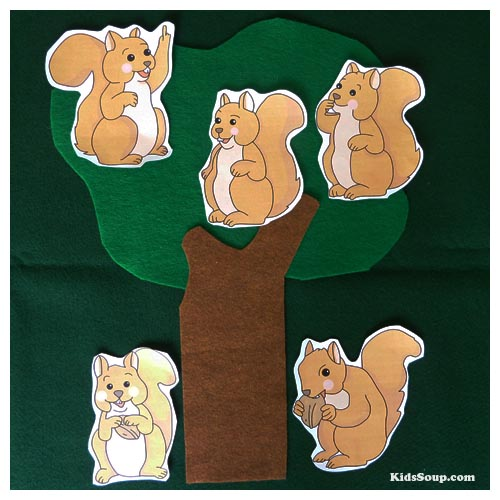 Five Little Squirrels rhyme, felt story, activity, and printables