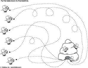 Fly the bees back to the beehive preschool tracing worksheet