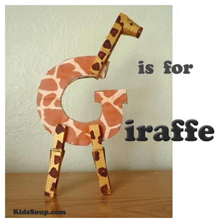 G is for giraffe craft kidssoup children will have fun turning the letter g into a giraffe with the addition of clothespins and a cork spiritdancerdesigns Gallery