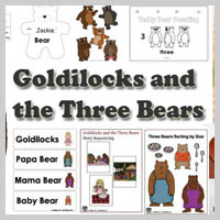 Preschool, Kindergarten, Goldilocks and the Three Bears Activities and Crafts