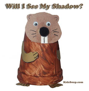 Preschool Kindergarten Groundhog craft and shadow activity
