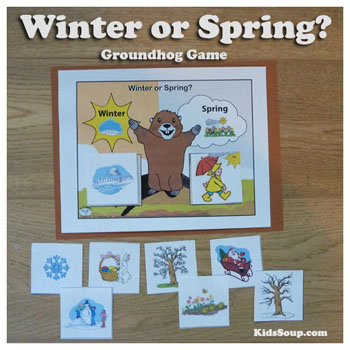 Preschool Kindergarten Groundhog Day Winter or Spring folder game