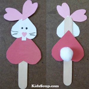 Heart rabbit craft and activity for preschool and kindergarten