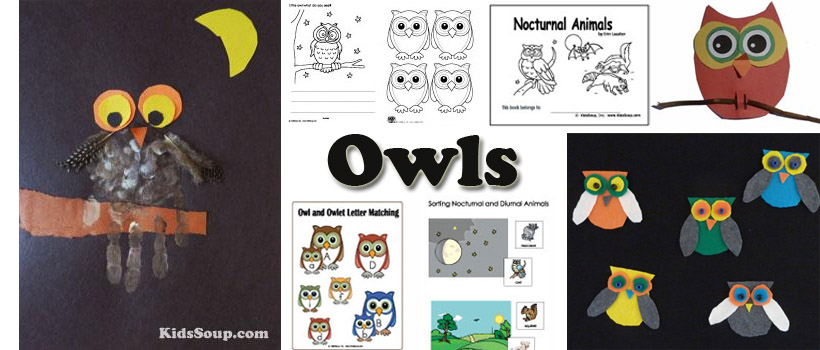 owls preschool and kindergarten activities, crafts, games, and printables
