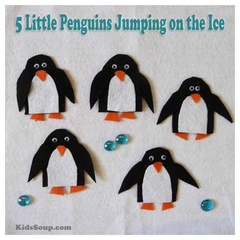 Five Little Penguin felt story rhyme, activity, and patterns
