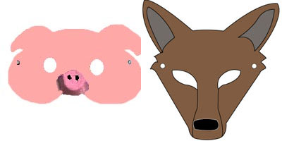 Pig and Wolf Mask Craft and Patterns