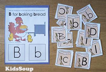 Little Red Hen letter B folder game preschool and kindergarten