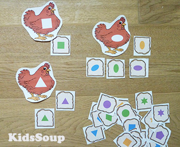 Little Red Hen Shapes Sorting Game preschool
