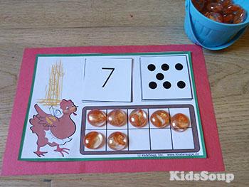 Little Red Hen number sense activity for preschool and kindergarten