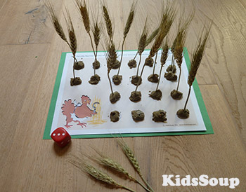 Little Red Hen counting and fine motor skill activity preschool