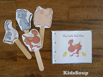 The Little Red Hen story book and story puppets printables and activities