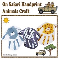 Preschool Kindergarten Zoo Animals Handprint Art and Craft
