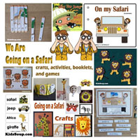 Preschool Kindergarten Safari Animals Activities and Crafts