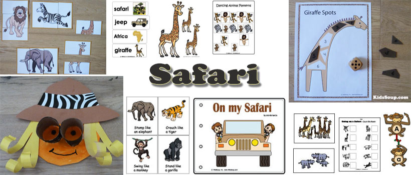 Safari, Jungle preschool activities, games, and crafts
