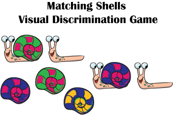Preschool snails visual discrimination game and printables