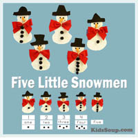 Five Little Snowmen Felt Story Rhyme and Activities