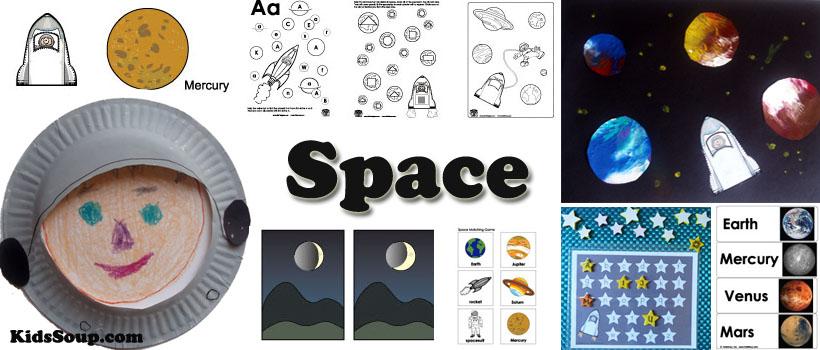 space preschool and kindergarten activities, crafts, games and printables