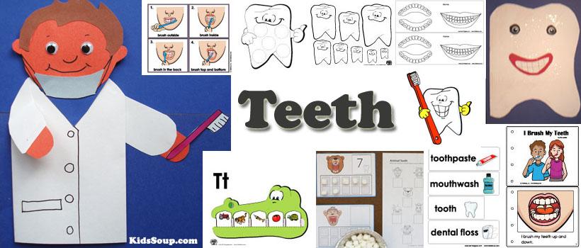 Preschool and kindergarten teeth and dental health activities and crafts