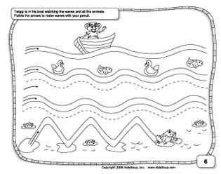Wavy lines prewriting worksheets and practice for preschool