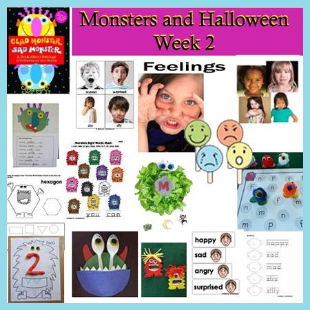 Monsters and Halloween preschool and kindergarten activities