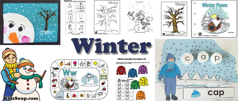 preschool and kindergarten winter activities, crafts, and games