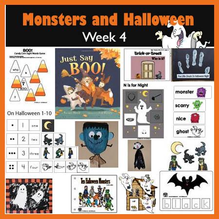 Monsters, Ghosts, Halloween preschool and kindergarten activities